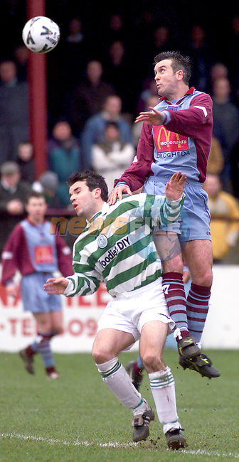 Drogheda United's Greg O'Dowd and Shamrock Rovers' Colm Foley in action during thier league encounter at United Park..Picture: Paul Mohan/Newsfile