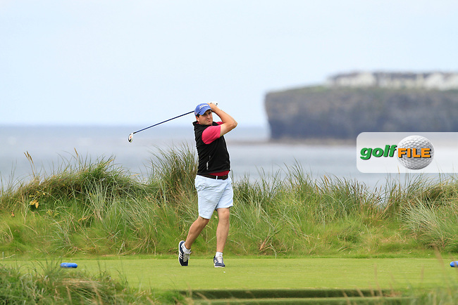 John Greene (Portmarnock) on the 4th tee during Round 2 of The South of Ireland in Lahinch Golf Club on Sunday 27th July 2014.<br /> Picture:  Thos Caffrey / www.golffile.ie