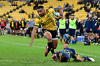 Hurricanes&rsquo; Ngani Laumape in action during the Super Rugby - Hurricanes v Highlanders at Westpac Stadium, Wellington, New Zealand on Friday 8 March 2019. <br /> Photo by Masanori Udagawa. <br /> www.photowellington.photoshelter.com