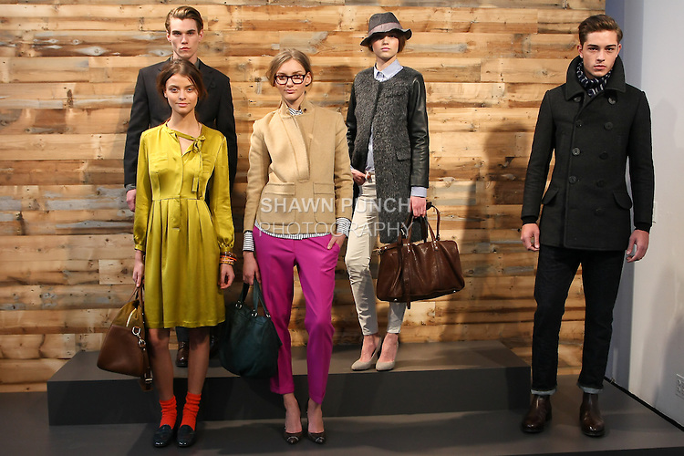 Models pose in outfits by Marissa Webb, and Frank Muytjens, for the J. Crew Fall 2011 Collection presentation.