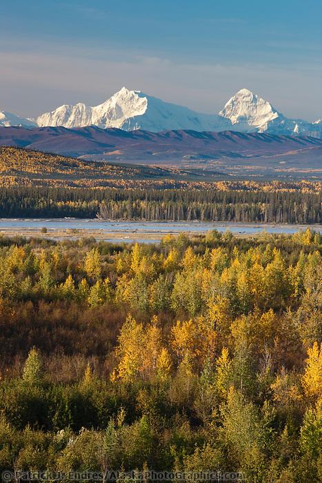 Mt Hess and Deborah, (left to right), prominent peaks in the Alaska Range mountains, Interior, Alaska.