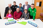 Signing of contract for All Weather pitch at Mounthawk Park on Friday Pictured Donna O'Regan, John O'Regan Sean Kelly (Contractor),Sean O'Keeffe (Chairman),Kieran O'Regan (KDL),Geraldine Nagle (KDL) and Murt Murphy (KDL), Darren Ahern