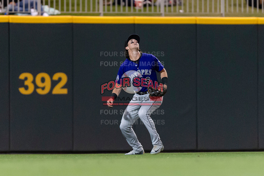 Albuquerque Isotopes left fielder Drew Weeks (6) during a Pacific Coast League game against the El Paso Chihuahuas at Southwest University Park on May 10, 2019 in El Paso, Texas. Albuquerque defeated El Paso 2-1. (Zachary Lucy/Four Seam Images)