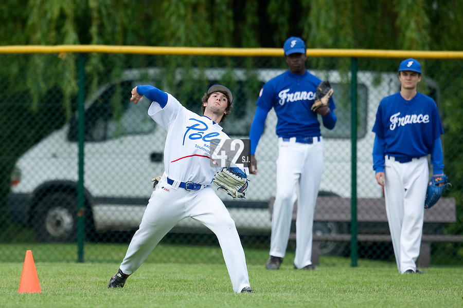 29 April 2009: Jonathan Dechelle takes outfield practice during the first of six 2009 MLB European Academy Try-out Sessions throughout Europe, at Stade Pierre Rolland, in Rouen, France. Try-out sessions are run by members of the Major League Baseball Scouting Bureau with assistance from MLBI staff.