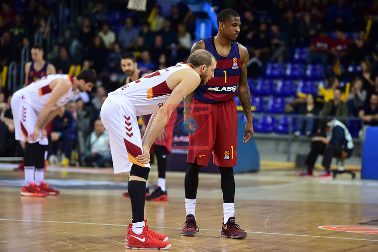 Turkish Airlines Euroleague 2016/2017.<br /> Regular Season - Round 22.<br /> FC Barcelona Lassa vs Galatasaray Odeabank Istanbul: 62-69.<br /> Sinan Guler vs Xavier Munford.