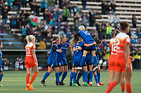 Seattle, WA - Saturday April 22, 2017: Seattle Reign FC during a regular season National Women's Soccer League (NWSL) match between the Seattle Reign FC and the Houston Dash at Memorial Stadium.