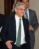 Judge Merrick Garland, chief justice for the United States Court of Appeals for the District of Columbia Circuit, who is US President Barack Obama's selection to replace the late Associate Justice Antonin Scalia on the US Supreme Court, arrives for his meeting with US Senator Patrick Leahy (Democrat of Vermont), Ranking Member, US Senate Committee on the Judiciary, on Capitol Hill in Washington, DC on Thursday, March 17, 2016.   <br /> Credit: Ron Sachs / CNP