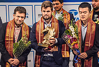 26th November 2019, Kolkata, India, Grand Master Tata Steeel Chess tournament;  Levon Aronian of the United States, Carlsen Magnus of Norway and Ding Liren of China  pose during the awards ceremony at Tata Steel Chess India