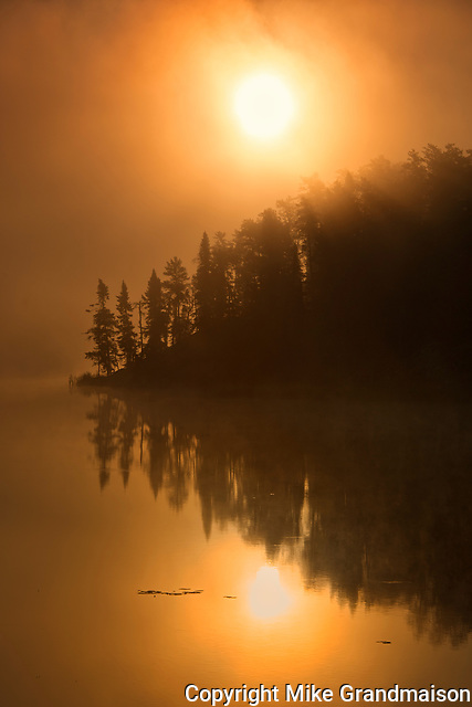 Isabel Lake in fog at sunrise<br />