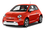 2014 Fiat 500e Hatchback 3 Door Hatchback Angular Front stock photos of front three quarter view