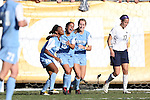 02 December 2012: UNC's Ranee Premji (CAN) (10) celebrates her goal with Crystal Dunn (19) and Summer Green (6). The University of North Carolina Tar Heels played the Penn State University Nittany Lions at Torero Stadium in San Diego, California in the 2012 NCAA Division I Women's Soccer College Cup championship game. UNC won the game 4-1.