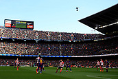 18th March 2018, Camp Nou, Barcelona, Spain; La Liga football, Barcelona versus Athletic Bilbao; Ousmane Dembélé of FC Barcelona and Saborit of Athletic Bilbao fighting the ball