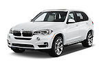 2018 BMW X5 xDrive40e 5 Door SUV Angular Front stock photos of front three quarter view
