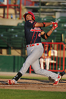 Peoria Chiefs Lebaldo Pina (4) swings during the Midwest League game against the Burlington Bees at Community Field on June 8, 2016 in Burlington, Iowa.  Burlington won 4-2.  (Dennis Hubbard/Four Seam Images)