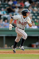 Center fielder Joseph Daris (11) of the Rome Braves bats in a game against the Greenville Drive on Monday, June 15, 2015, at Fluor Field at the West End in Greenville, South Carolina. Greenville won, 9-3. (Tom Priddy/Four Seam Images)