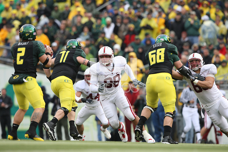 Eugene, OR - NOVEMBER 8:  Defensive tackle Matthew Masifilo #98 of the Stanford Cardinal during Stanford's 35-28 loss against the Oregon Ducks on November 8, 2008 at Autzen Stadium in Eugene, Oregon.