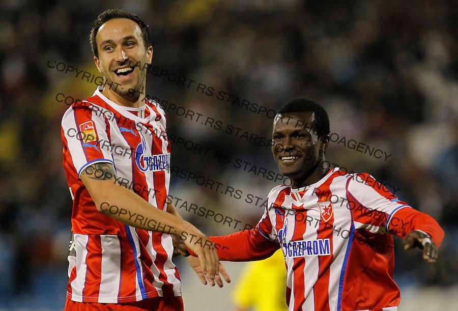 Fudbal Super liga season 2013-2014<br /> Crvena Zvezda v Novi Pazar<br /> Abiola Dauda celebrates the goal with Dragan Mrdja<br /> Beograd, 19.10.2013.<br /> foto: Srdjan Stevanovic/Starsportphoto &copy;