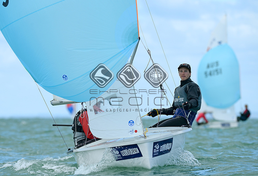 420 / Nia JERWOOD &amp; Lachlan GILMOUR (AUS)<br /> 2013 ISAF Sailing World Cup - Melbourne<br /> Sail Melbourne - The Asia Pacific Regatta<br /> Sandringham Yacht Club, Victoria<br /> December 1st - 8th 2013<br /> &copy; Sport the library / Jeff Crow