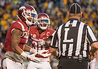 Hawgs Illustrated/BEN GOFF <br /> Henre' Toliver (left), Arkansas cornerback, and Kevin Richardson, Arkansas nickel back, plead with an official after a Missouri touchdown in the fourth quarter Friday, Nov. 24, 2017, at Reynolds Razorback Stadium in Fayetteville.