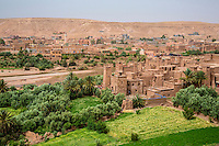 Morocco.  Ait Benhaddou Ksar, a World Heritage Site, in foreground; New Village in Background.