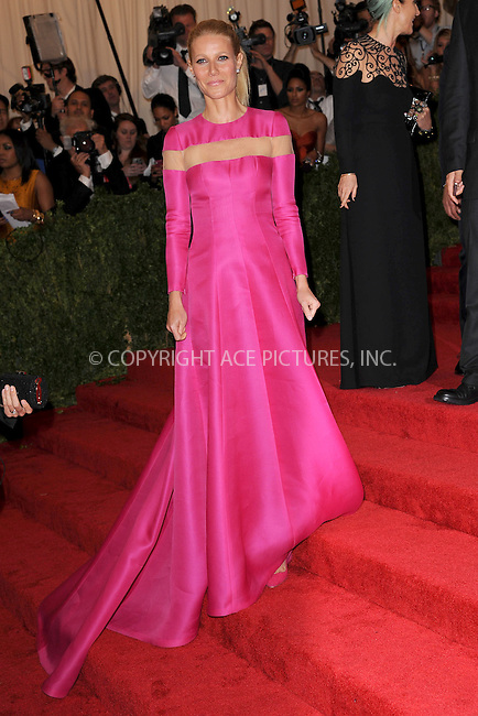 WWW.ACEPIXS.COM . . . . . .May 6, 2013...New York City....Gwyneth Paltrow attending the PUNK: Chaos to Couture Costume Institute Benefit Gala at The Metropolitan Museum of Art in New York City on May 6, 2013  in New York City ....Please byline: Kristin Callahan...ACEPIXS.COM...Ace Pictures, Inc: ..tel: (212) 243 8787 or (646) 769 0430..e-mail: info@acepixs.com..web: http://www.acepixs.com .