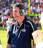 Oct. 15, 2011-Charlottesville, VA.-USA-  Georgia Tech head coach Paul Johnson reacts during an ACC football game against the Virginia Cavaliers at Scott Stadium. Virginia won 24-21. (Credit Image: © Andrew Shurtleff