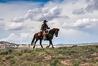 A Cowboy riding the high desert plains of Northwestern Colorado.