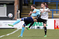 Andy Monkhouse of Grimsby Town shoots during the Vanarama National League match between Dover Athletic and Grimsby Town at the Crabble Athletic Ground, Dover, England on 16 April 2016. Photo by Tony Fowles/PRiME Media Images.