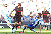 1st March 2020; RCDE Stadium, Barcelona, Catalonia, Spain; La Liga Football, Real Club Deportiu Espanyol de Barcelona versus Futbol Club Atletico Madrid;  Correa of Atletico is slide tackled by Didac of Espanyol