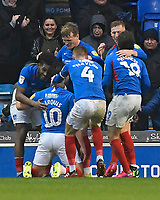 John Marquis of Portsmouth (10) is mobbed after scoring the second goal during Portsmouth vs Shrewsbury Town, Sky Bet EFL League 1 Football at Fratton Park on 15th February 2020