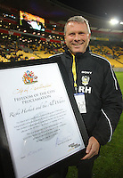 Phoenix and All Whites coach Ricki Herbert is awarded the freedom of the city of Wellington. Football friendly - Wellington Phoenix v Boca Juniors at Westpac Stadium, Wellington on Friday, 23 July 2010. Photo: Dave Lintott/lintottphoto.co.nz