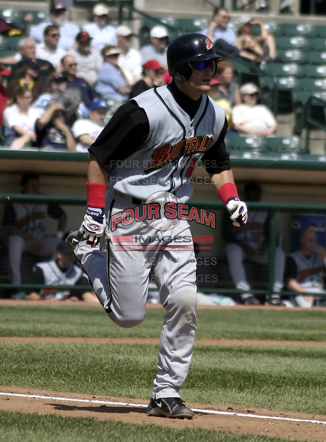 April 28, 2004:  Third baseman Russell Branyan of the Buffalo Bisons, International League (AAA) affiliate of the Cleveland Indians, during a game at Frontier Field in Rochester, NY.  Photo by:  Mike Janes/Four Seam Images