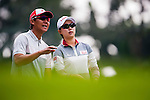 Hyo-Joo Kim (R) of Korea looks on during the Hyundai China Ladies Open 2014 on December 10 2014 at Mission Hills Shenzhen, in Shenzhen, China. Photo by Xaume Olleros / Power Sport Images