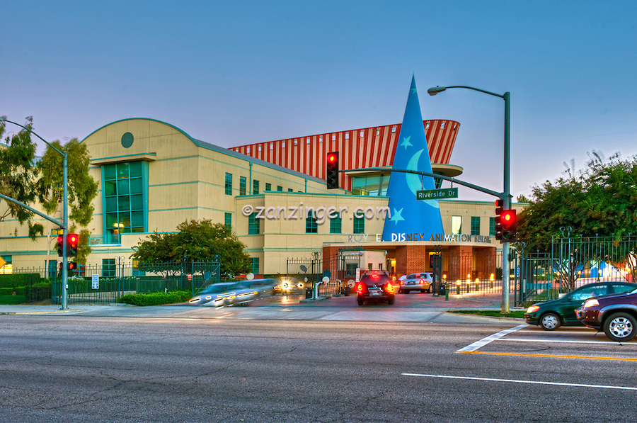 Roy E. Disney Animation Building in Burbank; CA. Sunset, Blue Sky, Magic Hour, Twilight, Car Lights Streaking, Beautiful
