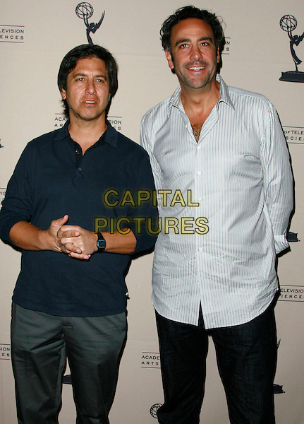 "RAY ROMANO & BRAD GARRETT.""From Stand Up to Sitcom"" presented by the Academy of Television Arts & Sciences held at the  Leonard H. Goldenson Theatre, North Hollywood, California, USA..October 6th, 2008.half length 3/4 white shirt blue top.CAP/ADM/CH.©Charles Harris/AdMedia/Capital Pictures"