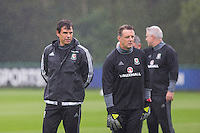 Team manager Chris Coleman and new goalkeeping coach Tony Roberts during the Wales open Training session ahead of the opening FIFA World Cup 2018 Qualification match against Moldova at The Vale Resort, Cardiff, Wales on 31 August 2016. Photo by Mark  Hawkins / PRiME Media Images.