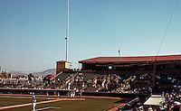 Ballparks: San Bernardino--infield and grandstand from left field aisle.