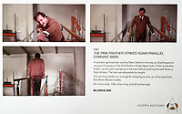 BNPS.co.uk (01202 558833)<br /> Pic: Juliens/BNPS<br /> <br /> The auction catalogue shows stills from the famous scene...<br /> <br /> Comedy Gold -The set of parallel bars that Peter Sellers' character Inspector Jacques Clouseau hilariously comes a cropper on in the Pink Panther are being auctioned off.<br /> <br /> The hapless French detective tries his hand on the piece of gym equipment after stumbling across it during his investigations at a country house.<br /> <br /> After swinging on the bars he then launches himself off to one side without realising there is a staircase immediately below. He goes head over heels down the flight of stairs and lands in a sitting room full of witnesses who he immediately begins to question as if nothing had happened.<br /> <br /> The scene featured in the 1976 movie The Pink Panther Strikes Again which starred British actor Sellers as the bungling Clouseau.<br /> <br /> The film prop is expected to fetch £4,000 when it goes under the hammer with Julien's Auctions of Los Angeles, US.