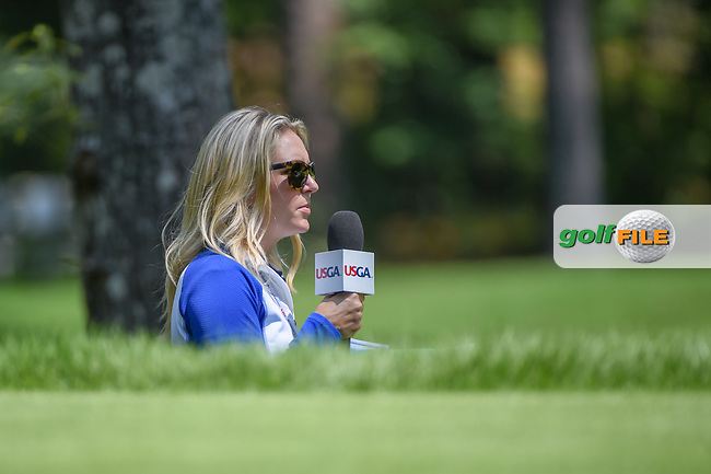 Golf analyst, Jessica Marksbury watches the action on 2 during round 4 of the U.S. Women's Open Championship, Shoal Creek Country Club, at Birmingham, Alabama, USA. 6/3/2018.<br /> Picture: Golffile | Ken Murray<br /> All photo usage must carry mandatory copyright credit (© Golffile | Ken Murray)