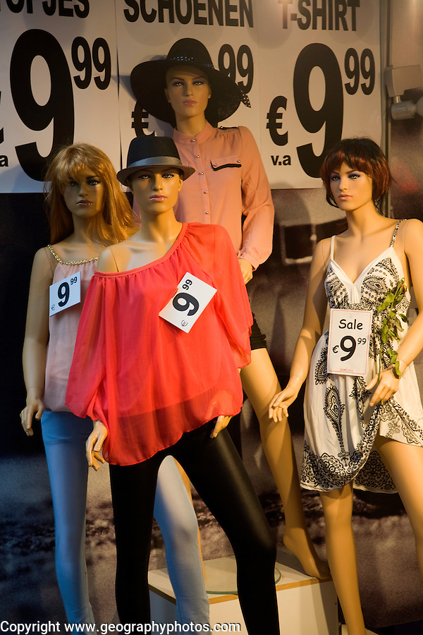 Clothing displayed on shop mannequins, Rotterdam, South Holland, Netherlands