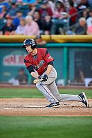 Austin Slater (13) of the Sacramento River Cats bats against the Salt Lake Bees at Smith's Ballpark on May 17, 2018 in Salt Lake City, Utah. Salt Lake defeated Sacramento 12-11. (Stephen Smith/Four Seam Images)