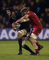 Bath Rugby's Luke Charteris is tackled by Scarlets&rsquo; James Davies<br /> <br /> Photographer Bob Bradford/CameraSport<br /> <br /> European Champions Cup Round 5 - Bath Rugby v Scarlets - Friday 12th January 2018 - The Recreation Ground - Bath<br /> <br /> World Copyright &copy; 2018 CameraSport. All rights reserved. 43 Linden Ave. Countesthorpe. Leicester. England. LE8 5PG - Tel: +44 (0) 116 277 4147 - admin@camerasport.com - www.camerasport.com