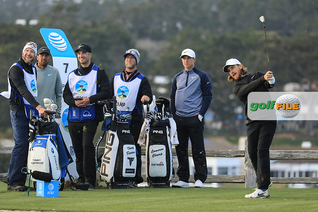 Tommy Fleetwood (ENG) during the final round of the AT&amp;T Pro-Am ,Pebble Beach Golf Links, Monterey, USA. 10/02/2019<br /> Picture: Golffile | Phil Inglis<br /> <br /> <br /> All photo usage must carry mandatory copyright credit (&copy; Golffile | Phil Inglis)