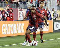 Juan Agudelo(9) and Timothy Chandler(21) of the USA MNT during an international friendly match against Paraguay at LP Field, in Nashville, TN. on March 29, 2011.Paraguay won 1-0.