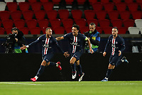 Soccer Football - Champions League - Round of 16 Second Leg - Paris St Germain v Borussia Dortmund - Parc des Princes, Paris, France - March 11, 2020  Paris St Germain's Neymar celebrates scoring their first goal with Marquinhos and Pablo Sarabia    <br /> Photo Pool/Panoramic/Insidefoto