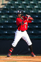 Michael De Leon (1) of the Hickory Crawdads at bat against the Savannah Sand Gnats at L.P. Frans Stadium on June 14, 2015 in Hickory, North Carolina.  The Crawdads defeated the Sand Gnats 8-1.  (Brian Westerholt/Four Seam Images)