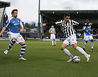 Steven Thompson shooting against Liam Craig in the St Mirren v St Johnstone Clydesdale Bank Scottish Premier League match played at St Mirren Park, Paisley on 8.12.12.