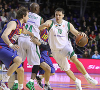 20.03.2012 Barcelona, Spain. Euroleague Playoff game 1. Picture show Bostjan Nachbar in action during match between FC Barcelona Regal against Unics Kazan at Palau Blaugrana