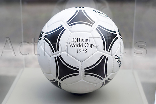 03.12.2013  The official FIFA 1978 world cup football from Adidas called the Tango River Plate in Argentina on display at the Parque Lage Rio de Janeiro.