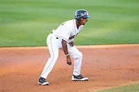 Tim Anderson (7) of the Winston-Salem Dash takes his lead off of second base against the Wilmington Blue Rocks at BB&T Ballpark on April 5, 2014 in Winston-Salem, North Carolina.  The Dash defeated the Blue Rocks 3-2.  (Brian Westerholt/Four Seam Images)